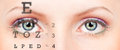 Eye with test vision chart Royalty Free Stock Images