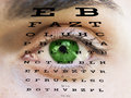 Eye test vision with man's face Royalty Free Stock Photo
