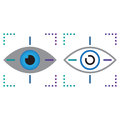 Eye tracking line icon, outline and solid vector sign, linear an