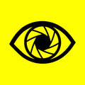 Eye on a yellow background symbol Royalty Free Stock Photo