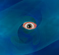 Eyeball through blue abstract background vision Royalty Free Stock Photo