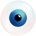 Eyeball with blue and turquoise colored iris that stares at you isolated vector on white background Stock Photo