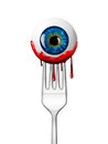 Eyeball on the fork halloween design Stock Photo