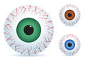 Eyeball set of three different color angry Stock Photo