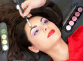 Eyebrow makeup with brush Royalty Free Stock Photos