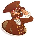 Eyed pirate salutes hand the isolated illustration Stock Photos