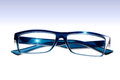 Eyeglasses blue on white background Royalty Free Stock Photography