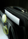 Eyeglasses in briefcase pocket with papers Stock Photography