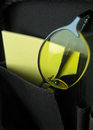 Eyeglasses in briefcase pocket with yellow papers Royalty Free Stock Photography