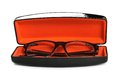 Eyeglasses in case on a white background Royalty Free Stock Image