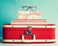 Eyeglasses over books Royalty Free Stock Photo