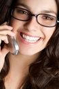 Eyeglasses Phone Woman Royalty Free Stock Photo