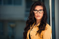 Eyeglasses woman young portrait with Stock Image