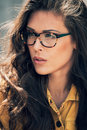 Eyeglasses woman young urban with portrait outdoor close up Stock Image