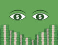 Eyeing money stacks two large eyes looking at of Royalty Free Stock Images