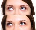 Eyelash Extension. Comparison of female eyes before and after. Royalty Free Stock Photo