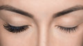 Eyelash removal procedure close up. Beautiful Woman with long lashes in a beauty salon