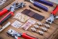 Eyelets plier tool kit Royalty Free Stock Photo