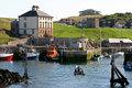 Eyemouth harbour scotland view over to dunsgreen house Royalty Free Stock Photo