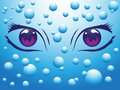 Eyes blue background bubbles Stock Photos
