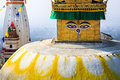 The eyes of buddha close up view swayambhunath stupa also known as monkey temple a unesco world heritage site on top swayambhu Royalty Free Stock Photography