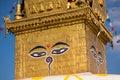 Eyes of Buddha. Wisdom eyes of Buddha in Swayambhunath Stupa after the earthquake ,Kathmandu, Nepal. Royalty Free Stock Photo