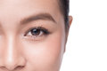 Eyes. Closeup of beautiful asian woman with brown eyes make up shadow