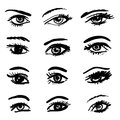 Eyes collection hand drawn isolated symbols set Stock Photography