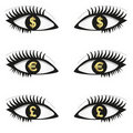 Eyes with currency icons Royalty Free Stock Photo