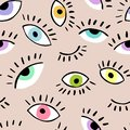 Eyes doodle vector hand drawn seamless pattern. Closed and open eye. The pattern for the fabric, cover.