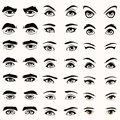 Eyes and eyebrows silhouette female male Royalty Free Stock Photos