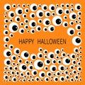 Eyes frame. Eyeball apple set. Happy Halloween baby card. Spooky orange background. Flat design. Royalty Free Stock Photo