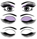 Eyes illustration of with long lashes and make up Royalty Free Stock Photos