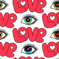 Eyes and Love Seamless Pattern