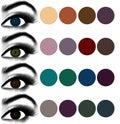 Eyes makeup.Matching eyeshadow to eye color. Royalty Free Stock Photo