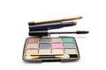 Eyeshadow, lipstick, mascara and lip pencil Royalty Free Stock Photo