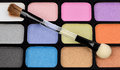 Eyeshadow makeup colors pallet set with brush Royalty Free Stock Image