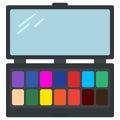 Eyeshadow palette cosmetics icon, vector illustration