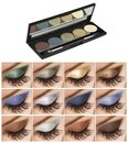 Eyeshadows set, product in slim black box and high resolution samples on woman eyelids, beauty products isolated on white Royalty Free Stock Photo