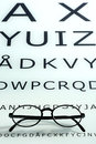 Eyesight and visual acuity concept with a pair of vintage glasses resting on the bottom of an optometrists chart for testing Royalty Free Stock Image