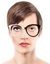 Eyewear glasses half man half woman portrait, wear spectacles Royalty Free Stock Photo