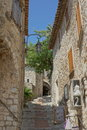 Eze france view of buildings and narrow walkway with blue sky Stock Image