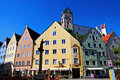 Füssen pedestrian area in the centre of the picturesque old city of in bavaria germany you see the colorful houses and the tower Stock Photo