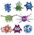Färgrika bakterier för tecknad film royaltyfri fotografi