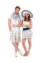 För dräktstående för par lyckligt barn för sommar Arkivbilder