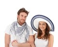 För dräktstående för par lyckligt barn för sommar Royaltyfri Foto