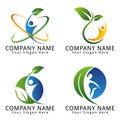 För natur åkerbruk och naturlig begrepp logo with single people för miljö för ekologi för wellness Arkivfoto