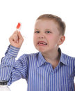 förbundit skriande finger för pojke Royaltyfri Fotografi