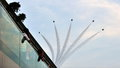 F-16 formation flypast during National Day Parade Royalty Free Stock Images