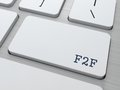 F f internet concept face to face button on modern computer keyboard Stock Image